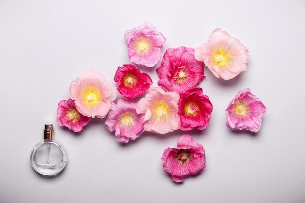 Bottiglia di profumo da donna e fiori di malva rosa. concetto di bellezza minimalista