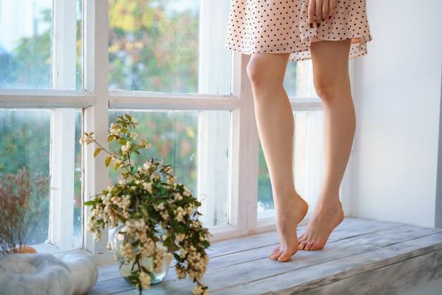 Le gambe snelle delle donne sul davanzale della finestra, accanto a un vaso di fiori.