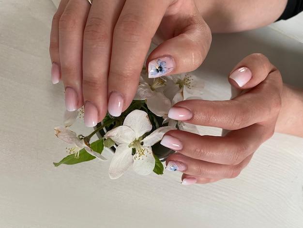Mani delle donne con una manicure rosa tenue naturale