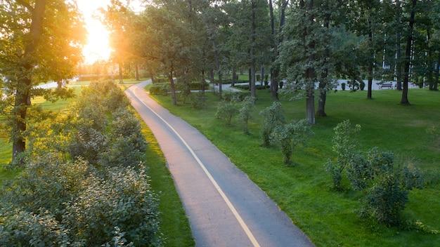 Meravigliosa fresca mattina d'estate. i raggi del sole illuminano il sentiero lastricato.