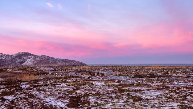 Meraviglioso paesaggio di montagna con la tundra sul mare di barents
