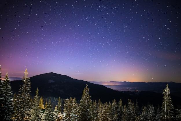 Meraviglioso cielo stellato si trova sopra gli scorci pittoreschi della stazione sciistica tra le montagne di colline e alberi. concetto di vacanza invernale. posto per il testo