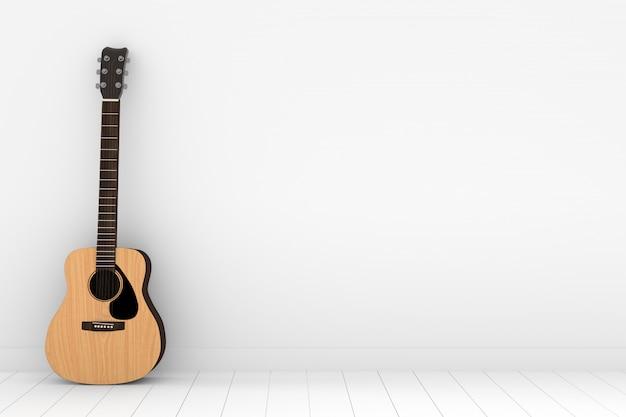 Chitarra acustica di legno nella stanza bianca vuota nella rappresentazione 3d