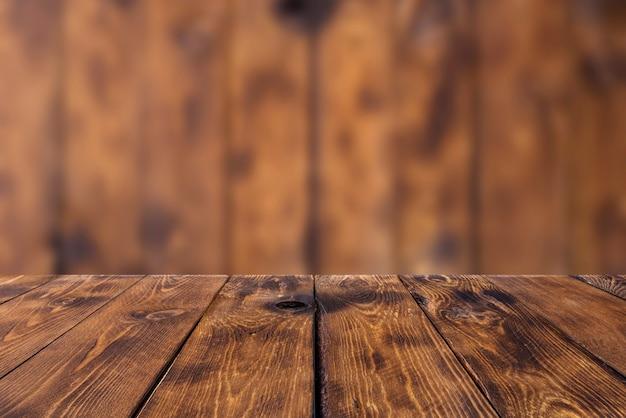 Sfondo di legno - tavolo con parete in legno