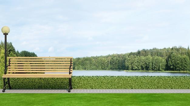 Banco di legno nella vista del lago e del giardino - rappresentazione 3d