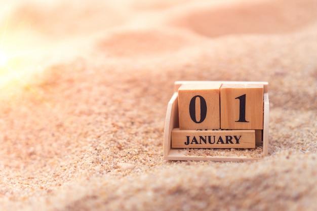 Blocco di mattoni in legno mostra la data e il calendario mensile del 1 ° gennaio o del nuovo anno
