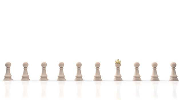Gli scacchi in legno e la corona d'oro su fondo bianco