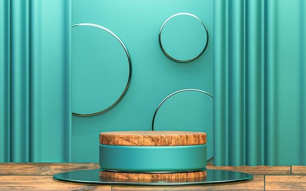 Cerchio di legno podio astratto del piedistallo della rappresentazione 3d fondo premium