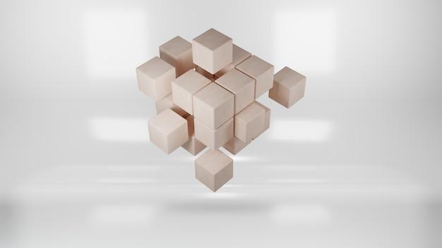 Cubo di legno assemblaggio da blocchi. rendering 3d