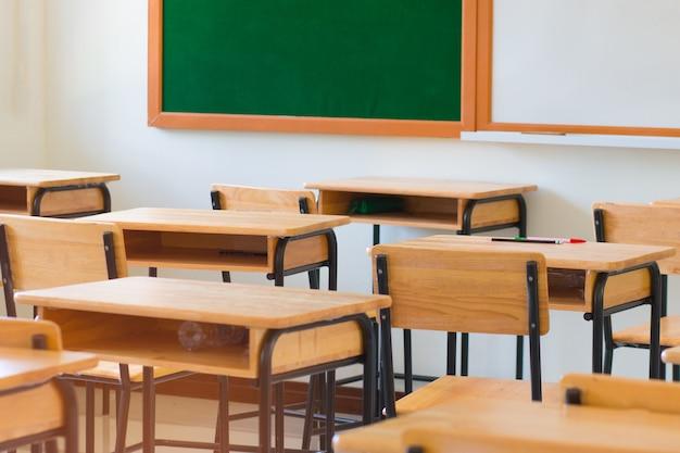 Scrivania in legno e sedie con bordo verde in aula vuota