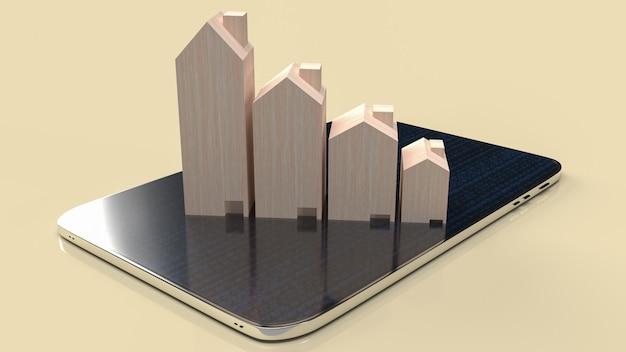 La casa in legno su smart phone per il rendering 3d del contenuto di proprietà