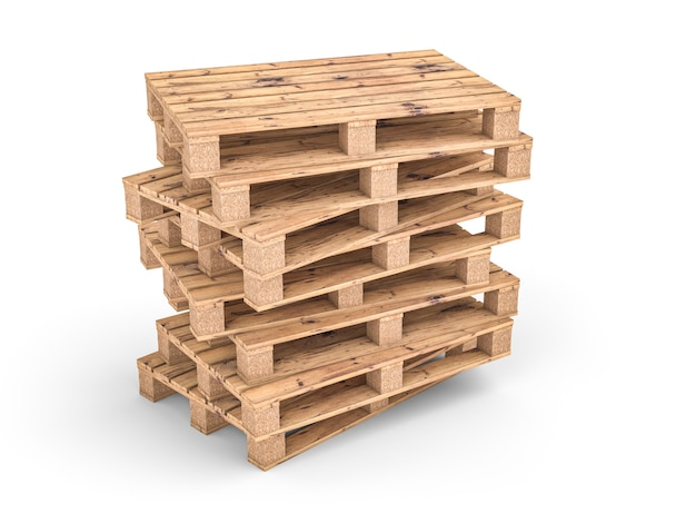 Pallet di legno su bianco
