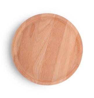 Piastra di legno isolato su sfondo bianco