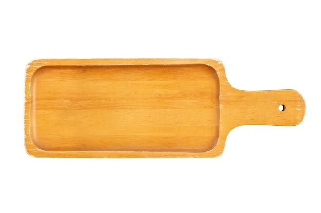 Piatto di legno su sfondo bianco