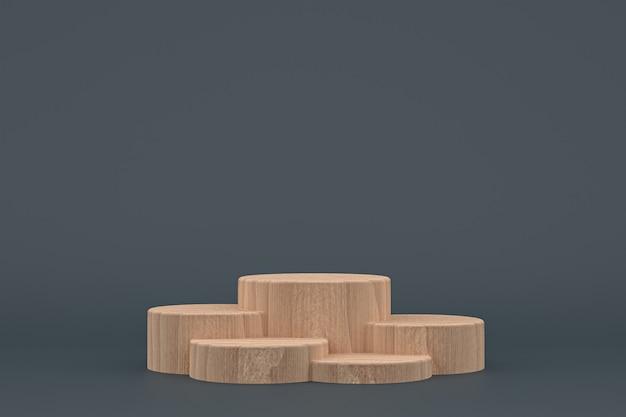 Podio di legno minimo rendering 3d o supporto del prodotto per la presentazione del prodotto cosmetico