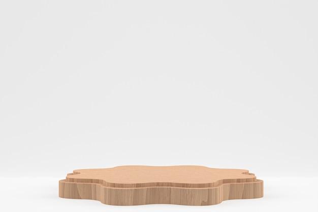 Rendering minimo del podio in legno o supporto del prodotto per la presentazione del prodotto cosmetico