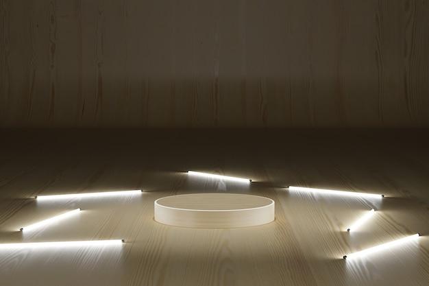 Podio in legno con tubo al neon su sfondo scuro 3d illustrazione che rende moderno semplice minimal
