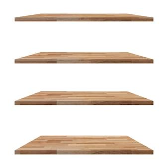Tavolo in legno ripiani isolato su bianco