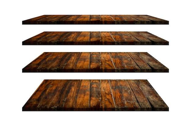 Collezione di ripiani in legno piano d'appoggio isolato su priorità bassa bianca. il percorso di ritaglio include in questa immagine.