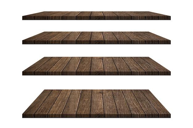 Collezione di ripiani in legno tavolo isolato su sfondo bianco con tracciato di ritaglio