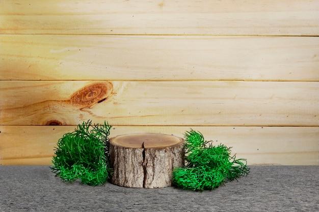 Fetta di legno e foglie di pino