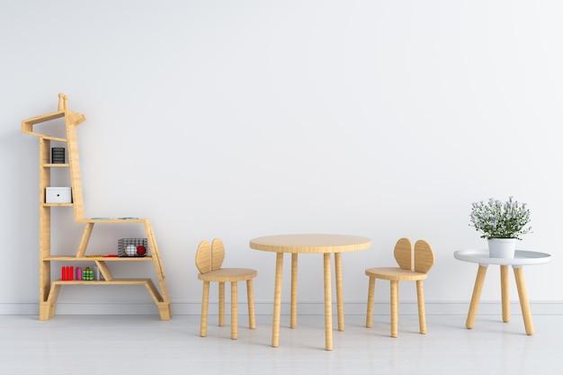 Tavolo e sedia in legno per mockup