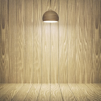 Fondale e lampade da tavolo in legno per il layout del design dello spettacolo