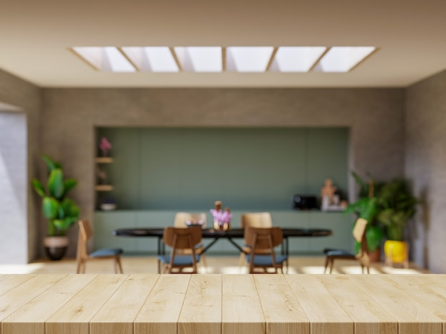 Piano del tavolo in legno sul bancone della cucina sfocato. rendering 3d