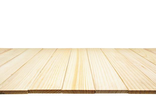 Piano tavolo in legno isolato su sfondo bianco