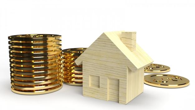 Rappresentazione di legno della moneta 3d della casa e di oro del giocattolo sul fondo bianco per il contenuto della proprietà.