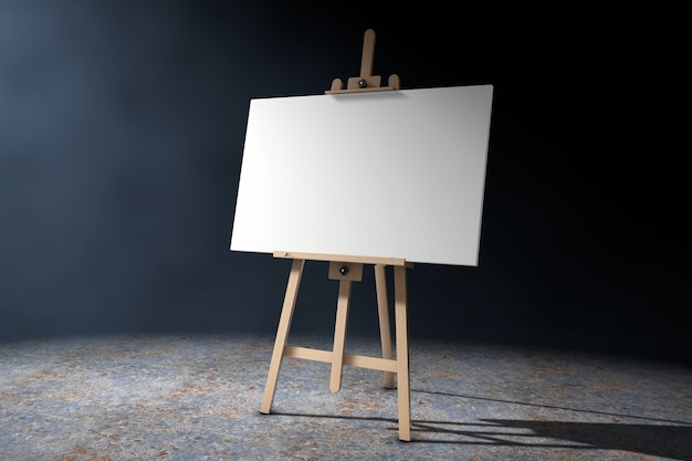 Cavalletto da artista in legno con tela bianca finta alla luce volumetrica su sfondo nero. rendering 3d.
