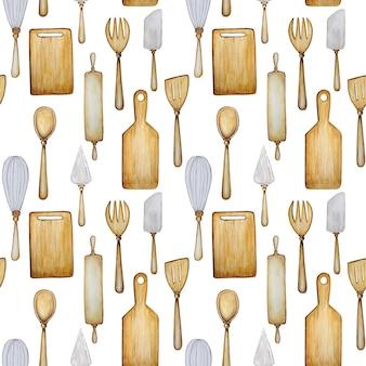 Modello senza cuciture di utensili da cucina in legno su fondo bianco