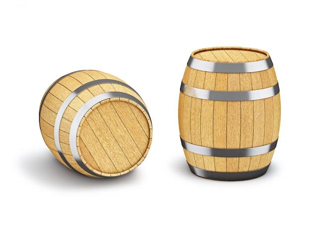 Barilotto di legno isolato su bianco