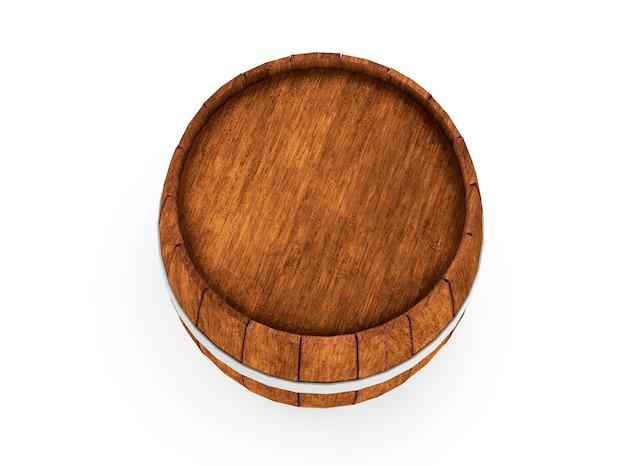 Barile di legno con cerchi in ferro isolato su sfondo bianco rendering 3d