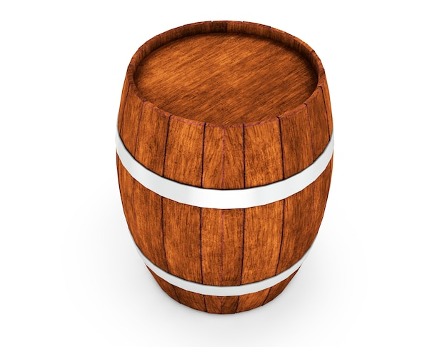Barile di legno con cerchi in ferro isolato su sfondo bianco