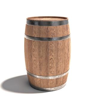Botti di legno per l'invecchiamento del vino su un bianco.