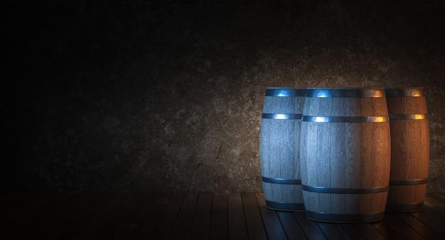 Botti di legno per l'invecchiamento del vino su assi di legno.