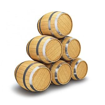 Barilotti di legno isolati su bianco