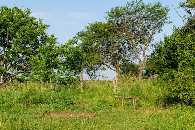 Panca di legno alla recinzione del villaggio, attività ricreative all'aperto estive