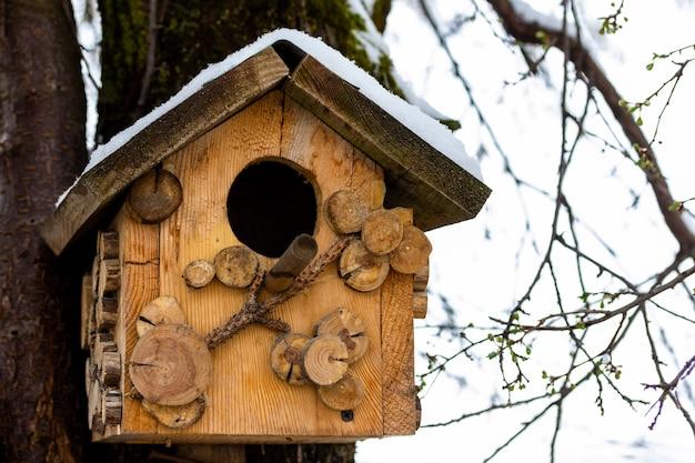 Birdhouse in legno con neve sul tetto di un albero da frutto all'inizio della primavera