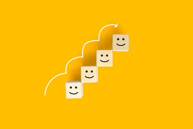 Il blocco di legno ha un'emoticon per i clienti per valutare la loro soddisfazione con il servizio, spazio per copiare immagini pubblicitarie, isolato su sfondo giallo e tracciato di ritaglio.