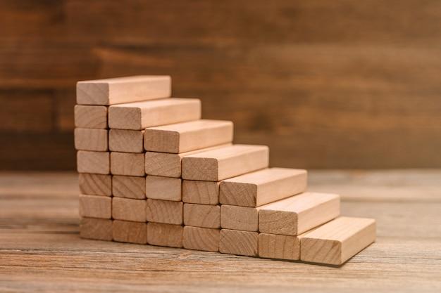 Scala di blocchi di legno come pianificazione concettuale, rischio e strategia nel mondo degli affari