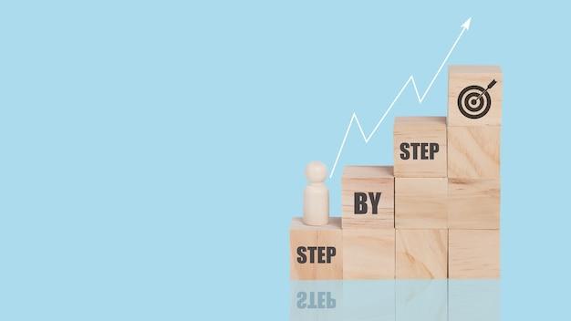 Blocco di legno impilabile come gradino in cima con la parola step by step con il modello di persona in legno in piedi. concetto di crescita dell'obiettivo aziendale. sfondo blu isolato. copia spazio.