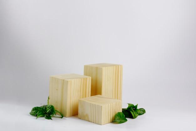 Blocchi di legno con foglie verdi e sfondo bianco