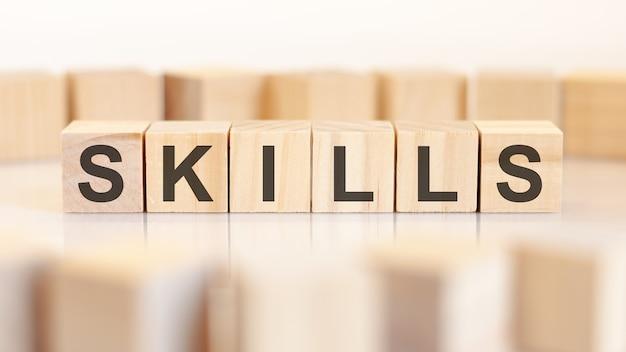 Blocchi di legno con la parola skills, concept