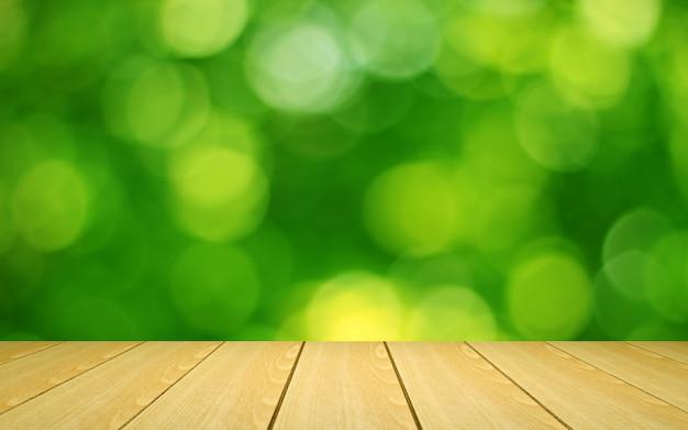 Tavola di legno di fronte a uno sfondo sfocato