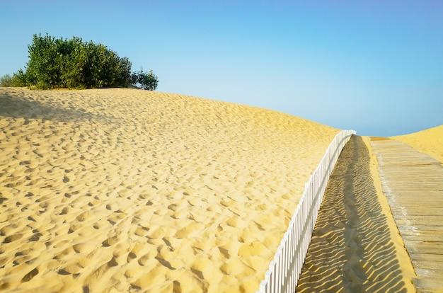 Passerella in legno per la spiaggia. colline sabbiose sulla spiaggia e un sentiero che porta al mare.