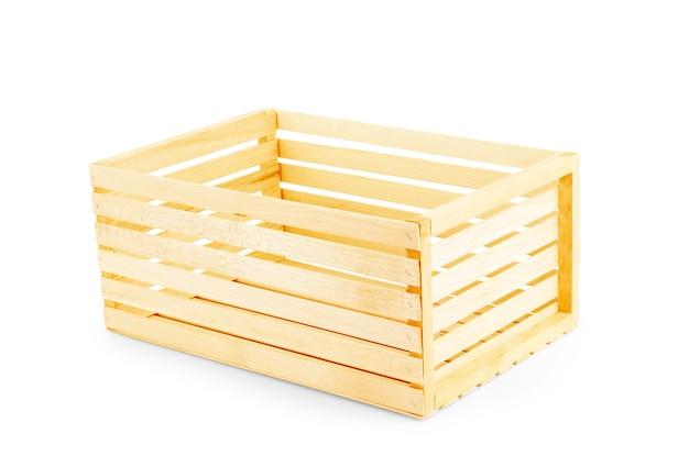 Scatole di legno isolate su sfondo bianco