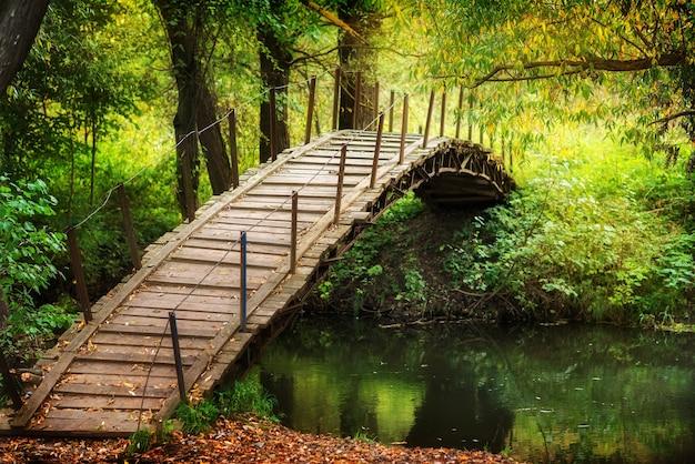 Ponte di legno dall'altra parte del fiume. passerella rustica con foglie d'autunno. giorno soleggiato