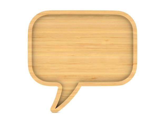 La bolla di legno parla su uno spazio bianco. illustrazione 3d isolata